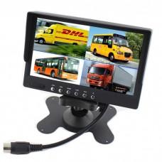 LCD zaslon 7 inčev 12-24V - TFT barvni / 4x Video vhod