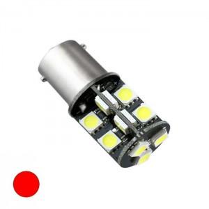 LED žarnica Ba15D Canbus, 19 LED, dvopolna - Rdeča