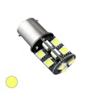 LED žarnica Ba15S - P21W, Canbus, 19 LED, enopolna - Rumena