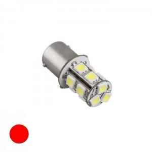 LED žarnica BaZ15D, 13 LED, dvopolna - Rdeča